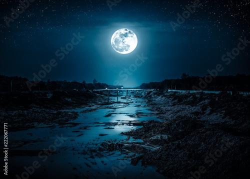 Leinwanddruck Bild Landscape of night sky with many stars and bright full moon.