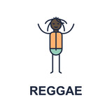 reggae musician icon. Element of music style icon for mobile concept and web apps. Colored reggae music style icon can be used for web and mobile