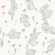 Vector seamless pattern with cartoon cute bunnies - 222082718