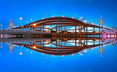 Panorama Bhumibol Bridge at sunset in Bangkok Thailand © assoonasrp