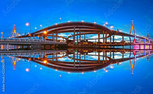 Fototapeta Panorama Bhumibol Bridge at sunset in Bangkok Thailand