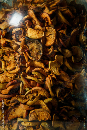 macro homemade canned dried apples in glass jar - 222085309