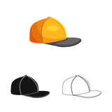 Vector design of headgear and cap sign. Set of headgear and accessory stock symbol for web. - 222088358