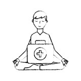 man sitting in meditation with kit first aid - 222093730