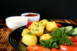 potatoes baked with fresh vegetables - 222093913