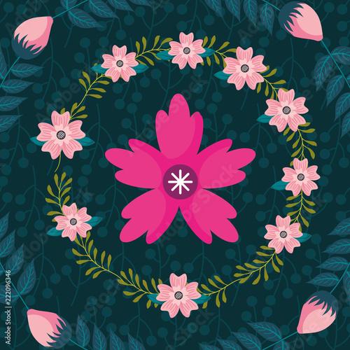 różowy kwiat wieniec kwiatowy tło dekoracji