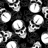 Seamless skull texture with roses on a black background.