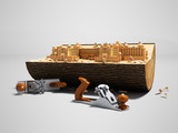 Concept creating your palace in wooden deck with hand plane 3d render on gray background with shadow - 222100552