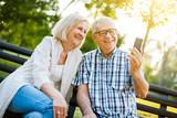 Happy senior couple is using smartphone in park.  - 222101730
