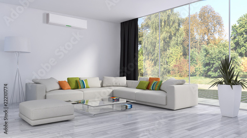 Leinwanddruck Bild modern bright interiors apartment Living room with air conditioning illustration 3D rendering computer generated image