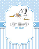baby shower boy. Stork with a baby. space for text