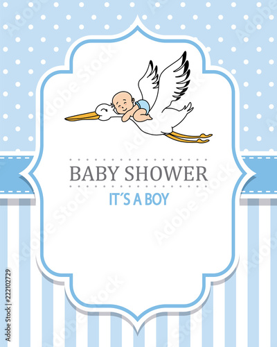 baby shower boy. Stork with a baby. space for text - 222102729