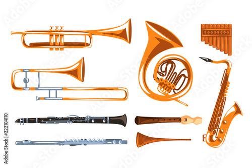 Musical wind instruments set, saxophone, clarinet, trumpet, trombone, tuba, pan flute vector Illustrations i on a white background