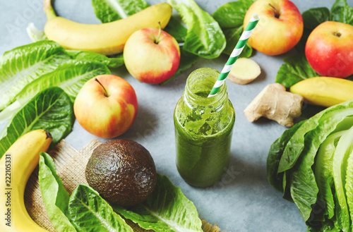 Ingredients for a tropical fruit smoothie with avocado, spinach and banana