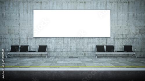 blank horizontal billboard advertising on underground station