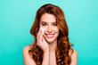 Leinwandbild Motiv Close up portrait of pretty, sensitive girl wash off makeup with