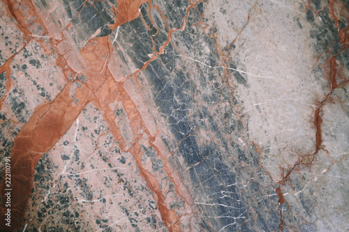 Natural Red Blue Marble Stone Surface Texture. Mixed Colors Abstract Background. - 222110791