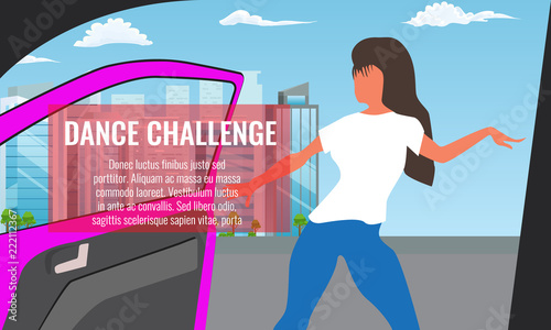 Fototapeta Vector illustration of Trendy Viral dance challenge while car moving and door is opened.