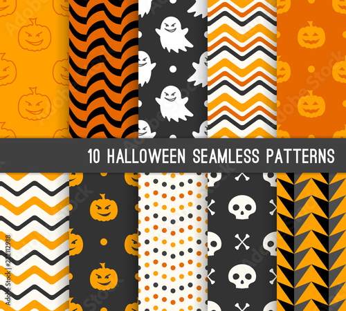 Ten Halloween Different Seamless Patterns Endless Texture For