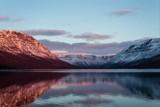 Вечер и закат Солнца над горами плато Путорана, озеро Собачье - 222121389