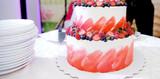 Wedding cake red velvet with fresh berries strawberries and blueberries. - 222125943
