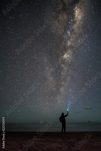 Silhouette of man in front of stars and milky way