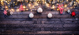Christmas rustic background with wooden planks - 222126907