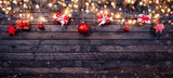 Christmas rustic background with wooden planks - 222127105