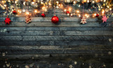 Christmas rustic background with wooden planks - 222127313