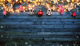 Christmas rustic background with wooden planks - 222127356