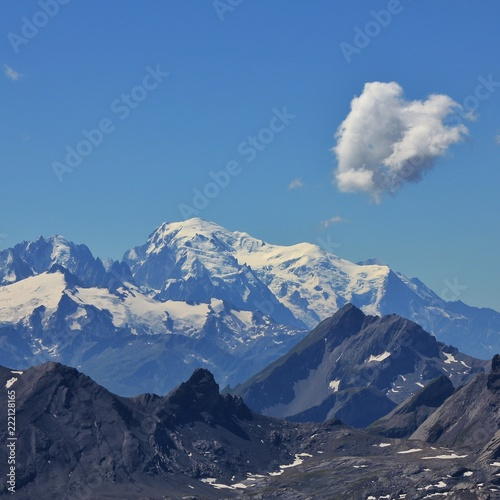 Wall mural Mont Blanc. View from Diablerets Glacier. Glacier 3000, Switzerland.