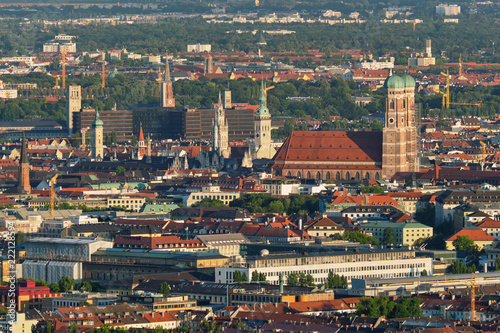 Leinwanddruck Bild Aerial view of Munich. Munich, Bavaria, Germany