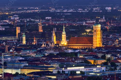 Leinwanddruck Bild Night aerial view of Munich, Germany