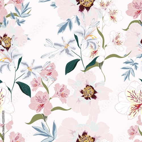 Floral Seamless Pattern with Pink Peony Flowers, alstroemeria and lilies.  - 222135931