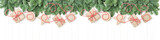 Christmas tree branches gift boxes holidays banner - 222141989