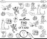 one of a kind with Halloween characterss color book - 222143156