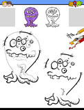 drawing and coloring worksheet with funny monster - 222143372