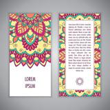 Greeting card or Invitation template with ethnic mandala ornament. Hand drawn illustration - 222146523