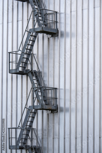 Metal Stairs Going Up The Outside Of A Building