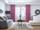 Interior design of the living room with a large window and direct curtains. 3d illustration - 222151988