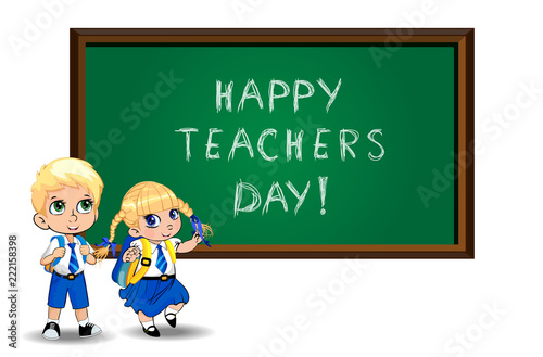 Happy teachers day illustration of cartoon students near blackboard on white - 222158398