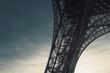 Piece of Tour Eiffel - Eiffel tower - against blue sky, Paris, France. Low angle.