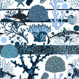 Nautical seamless pattern with blue corals, shells and sharks.Summer vector colorful background.Sea textile texture - 222166167