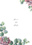 Watercolor vector card template design with eucalyptus leaves and succulents. - 222166527
