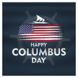 Happy Columbus Day National Usa Holiday Greeting Card With Ship Over American Flag Flat illustration - 222168745