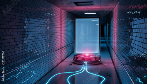 Futuristic billboard in dirty underground tube station mockup 3d rendering © sdecoret