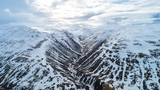 Snow Mountain in Iceland. Aerial view and top view. Beautiful nature background. - 222175177