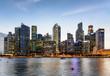 Leinwanddruck Bild - Beautiful evening view of Marina Bay and downtown of Singapore