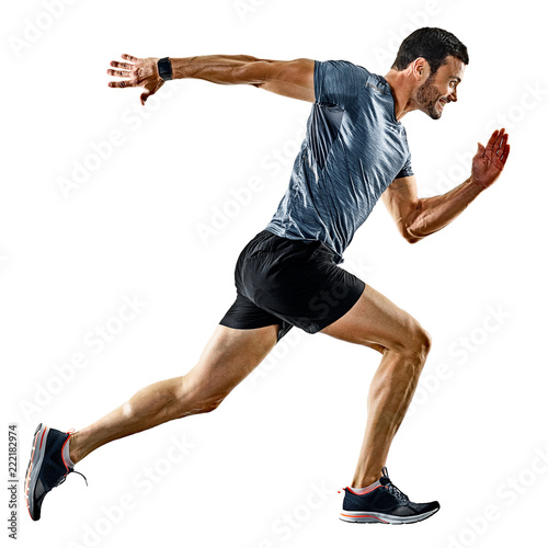 Leinwanddruck Bild one caucasian man runner jogger running jogging isolated on white background with shadows