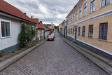 old town of Mariestad with paving stones and old houses - 222185109